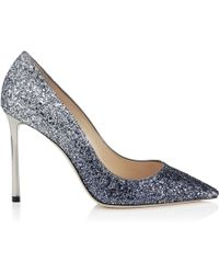 Jimmy Choo - Romy 100 Navy And Silver Coarse Glitter Degrad Pointy Toe Pumps - Lyst
