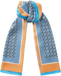 Jimmy Choo - Meli Rectangular Silk Stole In Stone Blue With All Over Choo Logo - Lyst