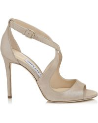 Jimmy Choo - Emily 100 Sand Shimmer Suede Sandals - Lyst