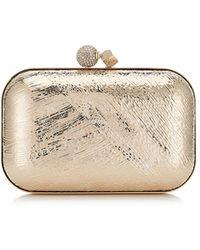 Jimmy Choo - Cloud Gold Tartan Motif Etched Metal Box Clutch Bag - Lyst
