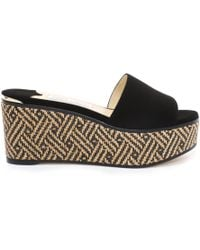 Jimmy Choo - Deedee 80 Natural And Black Suede Wedges With Woven Braided Raffia - Lyst