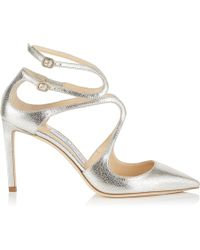 d5da274be55 Jimmy Choo - Lancer 85 Champagne Glitter Leather Pointy Toe Pumps - Lyst