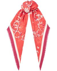Jimmy Choo - Kenna Cashmere And Modal Pashmina In Chilli With A Seasonal Floral Print - Lyst