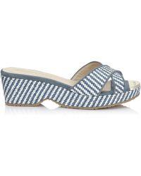 cda50d2435a0d Jimmy Choo - Panna Blue And White Raffia Slip On Sandal With Cork Wedge -  Lyst