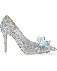Jimmy Choo - Avril Crystal Covered Pointy Toe Court Shoes Crystal 34 - Lyst