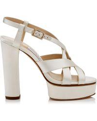 Jimmy Choo - Caress 125 Ivory Satin Platform Sandals - Lyst