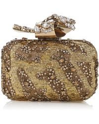 2018e7643cb7 Jimmy Choo - Cloud Gold Embroidered Clutch Bag With Crystal Knot Clasp -  Lyst