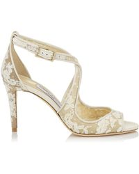 Jimmy Choo - Emily 85 Ivory Floral Lace Sandals - Lyst