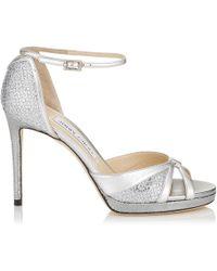 Jimmy Choo - Talia 100 Silver Glitter Fabric And - Lyst