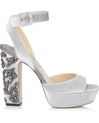 Jimmy Choo - Juliet 120 Silver Velvet Platform Sandals With Peony Crystal Embroidery - Lyst