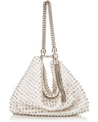 Jimmy Choo - Callie White Satin Clutch Bag With Dgrad Crystal Embroidery - Lyst