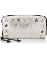 44f82dff27c9 Jimmy Choo - Filipa Champagne And Anthracite Bicolour Glitter Leather  Wallet With Multi Metal Star Trim