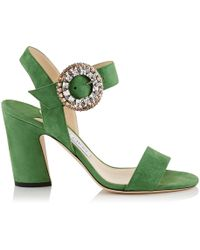 Jimmy Choo - Mischa 85 Suede Embellished Sandals - Lyst