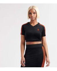 71d3c00ac13 adidas Originals 3-stripes Long Sleeve Crop in Black - Lyst