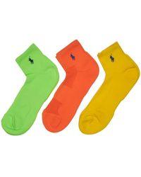 Polo Ralph Lauren - 3 Pack Athletic Quarter Socks - Lyst