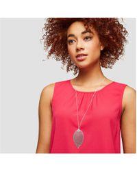 Joe Fresh - Long Silver Tone Leaf Pendant Necklace - Lyst