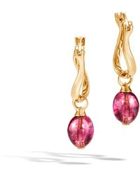 John Hardy - Aaxjh Classic Chain Drop Earring With Milky Pink Tourmaline - Lyst