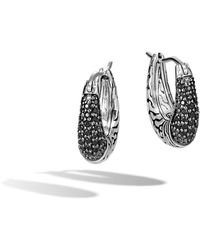 John Hardy - Classic Chain Hoop Earring With Black Sapphire, Black Spinel - Lyst