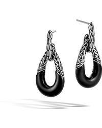 John Hardy - Classic Chain Door Knocker Earring With Onyx - Lyst