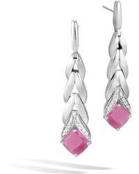 John Hardy Magic Cut Modern Chain Drop Earrings w/ Diamonds in Pink Sheen Sapphire 7BRwNqVV