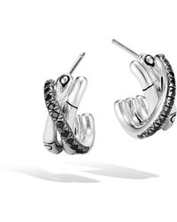 John Hardy - J Hoop Earring With Black Sapphire And Spinel - Lyst