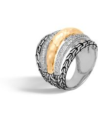 John Hardy - Classic Chain Hammered Ring With Diamonds - Lyst