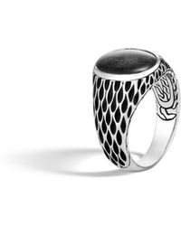 John Hardy - Naga Oval Signet Ring With Silver Sheen Obsidian - Lyst