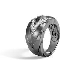 John Hardy - Modern Chain Ring With Diamonds - Lyst