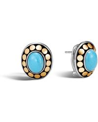 John Hardy - Button Earring With Turquoise - Lyst