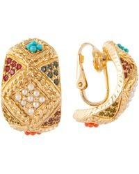 John Lewis - Susan Caplan Vintage D'orlan 22ct Gold Plated Faux Pearl And Swarovski Crystal Hoop Clip-on Earrings - Lyst