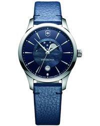 Victorinox   241794 Alliance Women's Moonphase Date Leather Strap Watch   Lyst