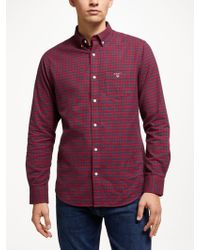 GANT - Brushed Oxford Check Shirt - Lyst