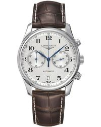 Longines - L26294783 Men's Master Collection Automatic Chronograph Date Alligator Leather Strap Watch - Lyst