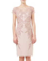 Adrianna Papell - Short Sleeve Beaded Cocktail Dress - Lyst