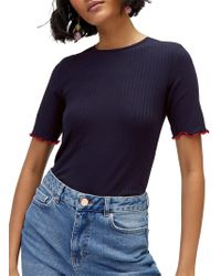 Warehouse - Crinkle Rib T-shirt - Lyst