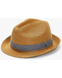 957446a9c5eca Ted Baker Straw Trilby Hat in Brown for Men - Lyst