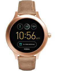 Fossil - Q Ftw6005 Women's Venture Leather Strap Touchscreen Smartwatch - Lyst