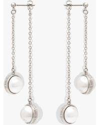 Karen Millen - Logo Pearl Double Drop Earrings - Lyst