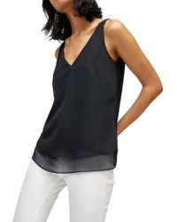 Warehouse - V-neck Woven Mix Vest Top - Lyst