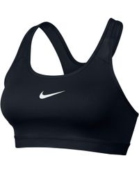 4319973af16a5 Nike Pro Indy Stretch-jersey Sports Bra in Blue - Lyst