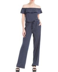 Max Studio - Off Shoulder Stripe Jersey Jumpsuit - Lyst