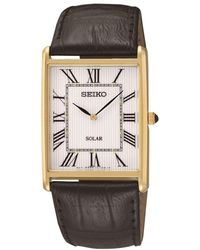 Seiko - Sup880p1 Men's Solar Leather Strap Watch - Lyst