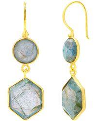 Auren | 18ct Gold Vermeil Labradorite Hexagon Double Drop Earrings | Lyst