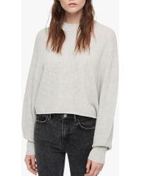 AllSaints - Gene Cropped Merino Wool Sweater - Lyst