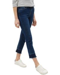 Jaeger - Cropped Raw Edge Straight Leg Jeans - Lyst