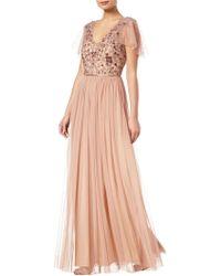 Adrianna Papell - Long Beaded Dress - Lyst