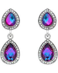 Monet - Double Glass Crystal Clip-on Drop Earrings - Lyst