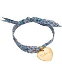 Merci Maman - Personalised 18ct Gold Plated Heart Liberty Bracelet - Lyst