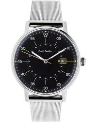paul smith city classic stainless steel watch in metallic for men paul smith p10131 men s gauge date bracelet strap watch lyst