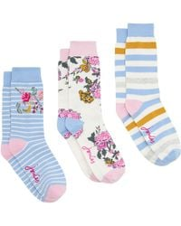 Joules - Brill Bamboo Pastel Floral Print Ankle Socks - Lyst